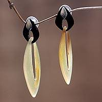 Buffalo horn dangle earrings, 'Sumatra Dawn' - Indonesian Modern Horn Dangle Earrings