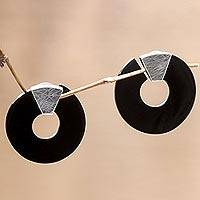 Buffalo horn button earrings,