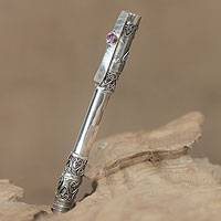 Sterling silver and amethyst ballpoint pen, 'Cheerful Hearts' - Artisan Crafted Sterling Silver and Amethyst Ballpoint Pen