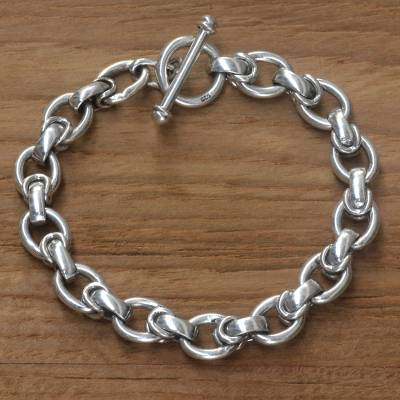 Men's sterling silver link bracelet, 'Brave Knight' - Men's Handcrafted Sterling Silver Link Bracelet