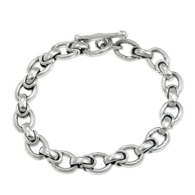 Men's sterling silver link bracelet, 'Brave Knight' - Men's Handcrafted Sterling Silver Link Bracelet