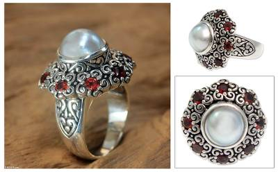 Cultured pearl and garnet domed ring, 'Indonesian Blossom' - Indonesian Pearl and Garnet Cocktail Ring
