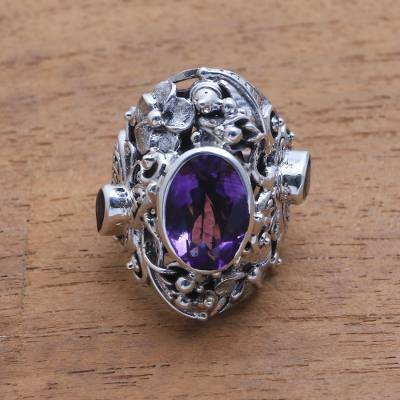 Amethyst and citrine cocktail ring, Frangipani Butterfly