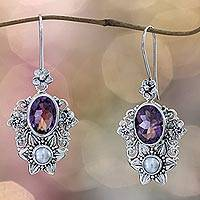 Cultured pearl and amethyst dangle earrings, 'Bali Blossoms' - Cultured pearl and amethyst dangle earrings