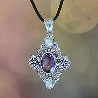Cultured pearl and amethyst pendant necklace, 'Frangipani Queen' - Handcrafted Floral Pearl and Amethyst Silver Necklace