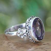 Amethyst solitaire ring, 'Frangipani Allure' - Sterling Silver and Amethyst Floral Ring from Bali