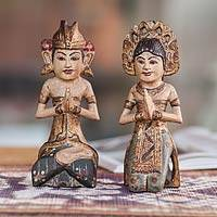 Wood sculptures, 'Bali Wedding Couple I' (pair) - Wood sculptures (Pair)