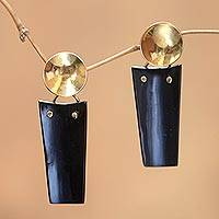 Horn dangle earrings, 'Midnight Sun' - Modern Horn and Brass Dangle Earrings