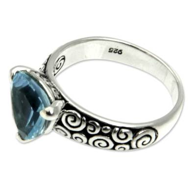 Indonesian Silver and Blue Topaz Ring