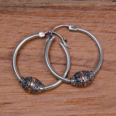 Gold accent hoop earrings, 'Lotus Seed' - Fair Trade Gold Accent and Sterling Silver Hoop Earrings