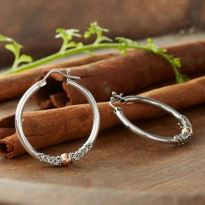Gold accent hoop earrings, 'Cloud-Kissed Moon' - Fair Trade Gold Accented Sterling Silver Hoop Earrings