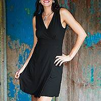 Jersey knit dress, 'Black Sumatra Chic' - Hand Crafted Short Jersey Knit Dress
