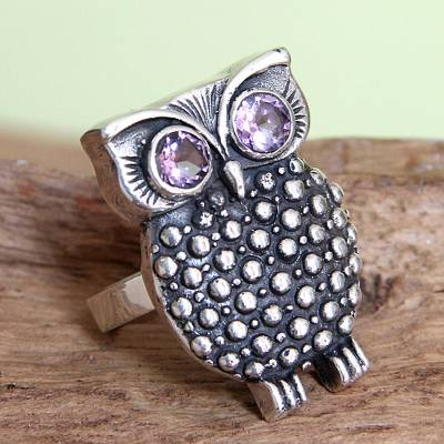 Amethyst cocktail ring, Sukawati Owl