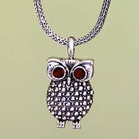 Garnet pendant necklace, 'Sukawati Owl' - Garnet pendant necklace
