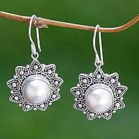 Cultured pearl flower earrings, 'Melati Hearts' - Cultured pearl flower earrings