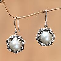 Cultured pearl flower earrings, 'Purest White'