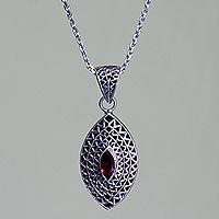 Garnet pendant necklace,