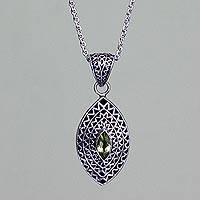 Peridot pendant necklace, 'Java Shield' - Peridot pendant necklace