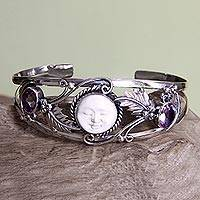 Amethyst cuff bracelet, 'Night Goddess' - Handmade Sterling Silver and Amethyst Women's Cuff