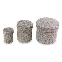 Beaded nesting boxes, 'Sassy Beige' (set of 3) - Beaded nesting boxes (Set of 3)