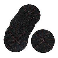 Beaded coasters, 'Shimmering Black' (set of 6) - Beaded coasters (Set of 6)