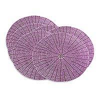 Beaded placemats, 'Shimmering Lilac' (set of 6) - Beaded placemats (Set of 6)
