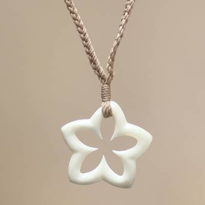 Bone pendant necklace, 'White Starfruit' - Bone pendant necklace