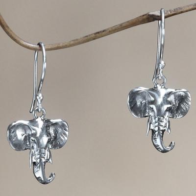 Sterling silver dangle earrings, 'Balinese Elephants' - Sterling silver dangle earrings