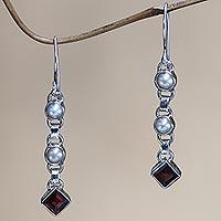 Cultured pearl and garnet dangle earrings,