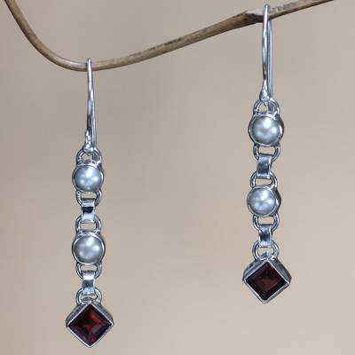 Cultured pearl and garnet dangle earrings, 'Dew' - Cultured pearl and garnet dangle earrings