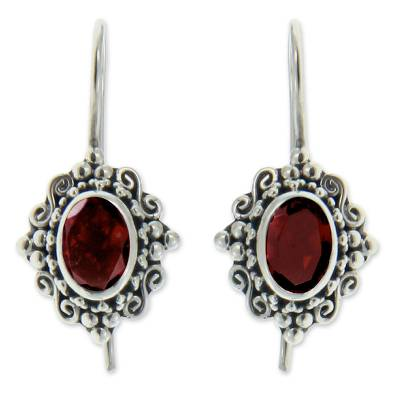 Garnet drop earrings, 'Balinese Elegance' - Fair Trade Garnet and Sterling Silver Drop Earrings