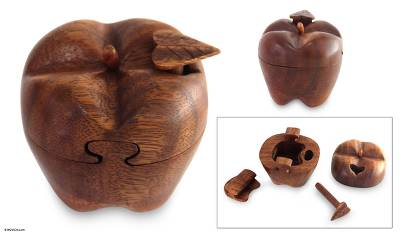 Wood puzzle box, 'Forbidden Fruit' - Hand Carved Wood Apple Puzzle Box
