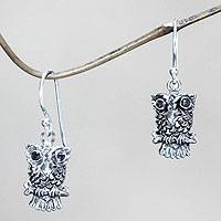 Amethyst dangle earrings, 'Baby Owl' - Handcrafted Sterling Silver Owl Earrings