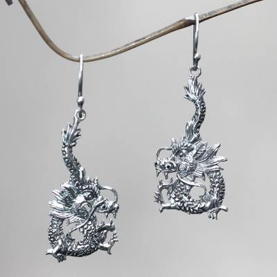 Sterling silver dangle earrings, Dragon Splendor