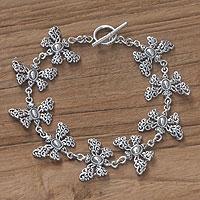 Sterling silver link bracelet, 'Butterfly Vignette' - Sterling silver link bracelet