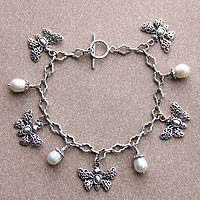 Featured review for Cultured pearl charm bracelet, Butterfly Vignette