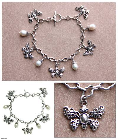 Cultured pearl charm bracelet, 'Butterfly Vignette' - Butterflies and Pearls Silver 925 Charm Bracelet