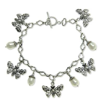 Butterflies and Pearls Silver 925 Charm Bracelet