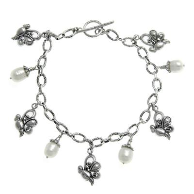 Cultured pearl charm bracelet