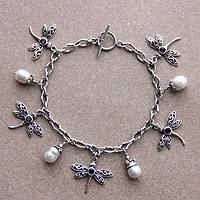 Cultured pearl and amethyst charm bracelet, 'Dragonfly Paradise' - Dragonfly Charm Bracelet Amethyst Pearl 925 Silver