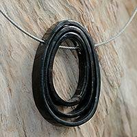 Horn pendant necklace, 'Forgotten Memories' - Horn pendant necklace