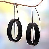 Horn drop earrings, 'Sea Melody' - Horn drop earrings