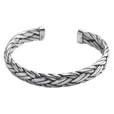 Men's sterling silver cuff bracelet, 'Flowing Water' - Men's Modern Sterling Silver Cuff Bracelet