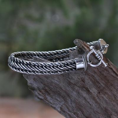 Men's sterling silver bracelet, 'Balinese Centipede' - Men's Silver Bracelet Sterling 925 Handmade
