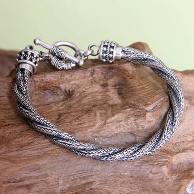 Men's sterling silver bracelet, 'Naga Twist' - Men's Handcrafted Sterling Silver Torsade Bracelet