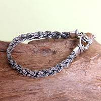 Men's sterling silver bracelet, 'Naga Braid'