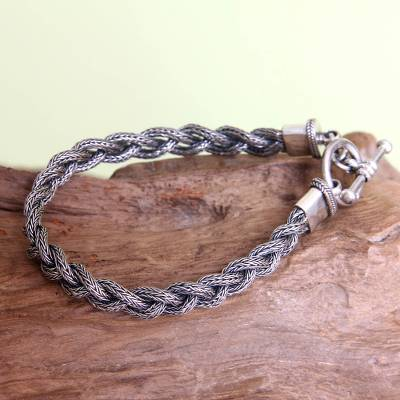 Mens sterling silver bracelet, Naga Braid