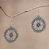 Sterling silver dangle earrings, 'Dazzling Suns' - Handmade Sterling Silver Dangle Earrings