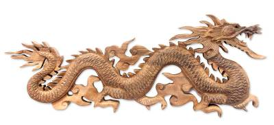 Wood wall sculpture, 'Baru Klinthing Dragon' - Handmade Suar Wood Relief Panel
