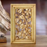 Wood relief panel, 'Hibiscus Tree' - Wood relief panel